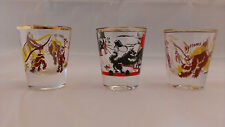 "THREE VINTAGE 1950""s BOTTOM'S UP/ GOOD LUCK SHOT GLASSES MONKEY CAT DOG COMICAL"