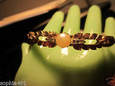 Vintage Gold Tone Bangle Bracelet with Rhinestones & Pearl