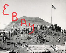 WWII GREAT 8X10 PHOTO MEMORIAL SERVICE ON IWO JIMA MT SURIBACHI 5TH US MAR DIV