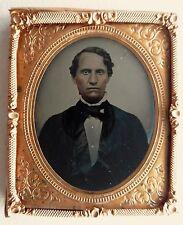 AMBROTYPE PHOTO PORTRAIT HOMME cadre doré PHOTOGRAPHIE ANCIENNE O951