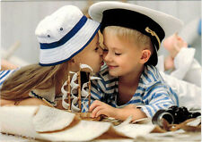 Very young sailor gets his FIRST KISS from girl Modern Russian card