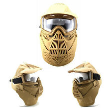 Ajustable Airsoft Wargame Painball Face Gas Mask Goggles & Neck Protect Khaki