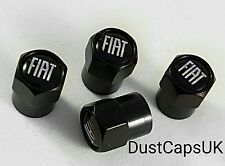 FIAT Black Wheel Tyre Valve Dust Caps for 500 Abarth Punto Panda