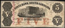 State bank South Carolina $5  Five imprint Plate B 1860 VF  C&S  Railroad s508
