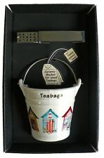 Beach hut bucket shaped Teabag tidy & tongs in gift tray shrink wrapped