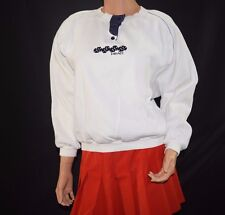 Vintage 80's HEAD Tennis White 100% Cotton Sweater - Size Medium - USA Made