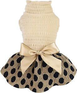 Fitwarm Vintage Polka Dot Dog Dress Lightweight Velvet Girl Puppy One-Piece