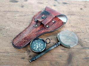 Loupe vintage de poche et boussole en étui cuir ,neuf laiton et verre