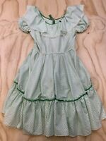VTG UNBRANDED WOMEN GREEN POLKA DOT LACE ACCENT SUN DRESS EUC SEE PICS FOR SIZE