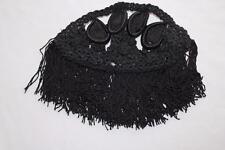 Vintage Français Edouardienne soie noire ornement crocheté pièce 17.8cm x 8.9CM
