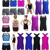 Girls Kids Dance Ballet Dress Gym Yoga Tank Tops+Bottoms Jazz Dancewear Costume