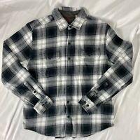 Woolrich Mens Button Up Long Sleeve Shirt Flannel Plaid Gray Medium