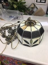 """Vintage Leaded Stained Glass Swag Hanging Lamp 10"""" Mid Century Mod amber green"""