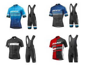 2020 Giant Cycling Jersey Breathable Half Sleeve Top w Pockets Padded Bib Shorts