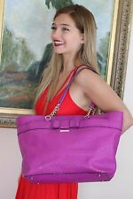 KATE SPADE ROSE AVENUE EMBOSSED OSTRICH LEATHER BOW TOTE TRAVEL BAG $348 PURPLE
