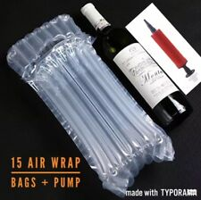 15 X Inflatable Air Bubble Pack Wrap Bag for Wine Bottle