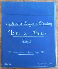PLAN FORGES DE FIRMINY USINE DES DUNES 1927 MATRICE POUR ESSIEUX TYPE 21 CANELUR