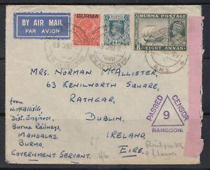 BURMA 1939 Censored Airmail Cover to Dublin C190