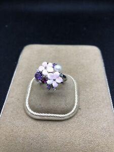 9K  White Gold Diamonds Amethyst Pearl Flower Ring