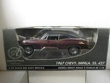 1/18 SCALE ERTL AMERICAN MUSCLE AUTHENTICS MAROON 1967 CHEVY IMPALA SS 427