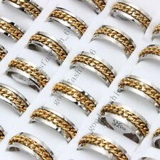 20ps Wholesale Lots Stainless Steel Silver Gold Chain Spinner Men Ring Sz17-21mm