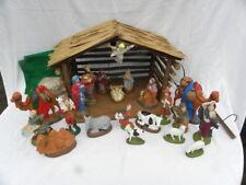 Vint 1984 22-Piece Atlantic Mold Handmade Ceramic Nativity Set w/Lighted Crèche
