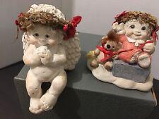 Dreamsicles 1994 Cherub Angels X2 Poinsettia Figurines Shelf Sitter & Christmas