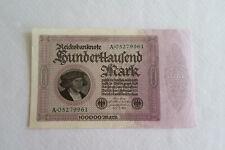 Geldschein, Inflation, 100 000 Mark 1923, Kontroll-Nr. A 05279961