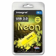 Integral 16GB Neon USB 3.0 Flash Drive in Yellow - Up To 10X Faster Than USB 2.0