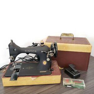 AS-IS   Singer 128 Centennial 1951 Sewing Machine w Case AK200990 Black Gorilla