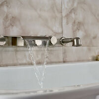 Brushed Nickel Waterfall Wall Mount Tub Bathroom Faucet With Hand Shower Mixer