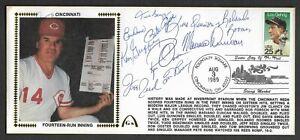 Pete Rose & Cincinnati Reds Autographed 14 Runs Gateway Stamp Cachet Envelope