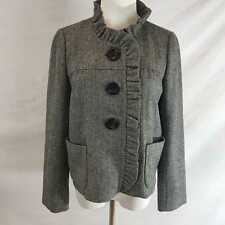 J. CREW Fiona Black & White Herringbone Tweed Ruffle Jacket Coat Sz 4