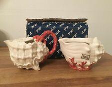 Vintage Fitz & Floyd 1989 Conch/Coral Shell Cream and Sugar Set No Lid w/ Box