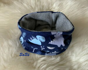 Schlupfschal ♥ Loop ♥ Halssocke ♥ Baby ♥ Handmade ♥ Fleece ♥ Dino ♥ Blau