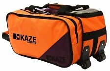 KAZE SPORTS 2-Ball Compact Bowling Roller Bag Expandable Shoe Pocket Tote Two