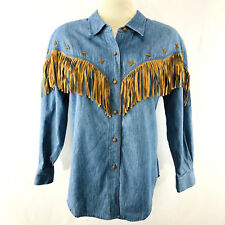 Hairston Roberson Ropa Denim Fringe Shirt Cowgirl Western Wear Large Faux Suede