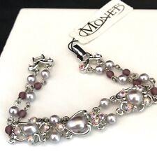 Monet Bracelet Crystals Purple Toned Pearls Aurora Borealis Silver Toned  2Y