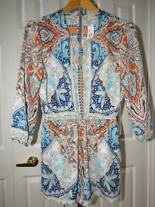 NEW Rubber Ducky One Piece Blue Orange Paisley Print Romper L NWT womens