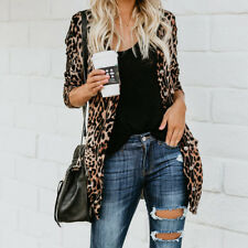 Womens Long Sleeve Leopard Print Cotton Cardigan Jacket Top Casual Coat Outwear