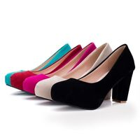 Women Round Toe Slip On High Heel Solid Platform Party Mary Jane Shoes Plus Size