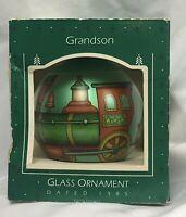 Vintage Hallmark Grandson Christmas Ornament 1985 Glass Ball Train Keepsake Box