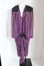 Casadei Womens Dress Flapper Vintage Beaded Animal Print Chiffon Sheer Costume 8