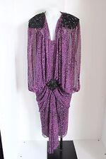 Casadei Womens Dress Flapper Vintage Beaded Animal Print Chiffon Sheer 8