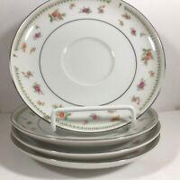 Set of 4 ABINGDON Fine Porcelain China Rose Saucers Plates