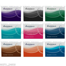 Waterman LARGE Size Fountain Pen Ink Cartridges Refill (Pk of 8) - ALL COLOURS