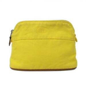 HERMES Bolide zipped pouch Canvas leather Yellow Used