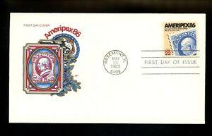 US FDC #2145 House of Farnam Cachet Ameripex 86 Internat Stamp Show 5/25/1985