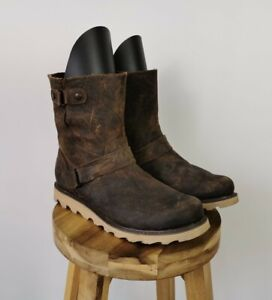 LADIES SOREL SCOTIA DISTRESSED STYLE BROWN LEATHER ANKLE BOOTS - UK 8 EU 41