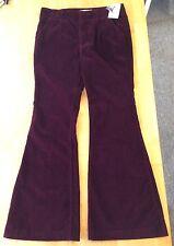 NWT NEW Free People Sz 30 Oxanna Velvet Flare Bell Bottom Pants Scarlet Wine Red